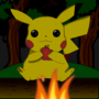 Pikachu at a camp fire by NeXuSFlame
