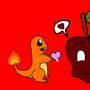 apple and charmander by paradoxOX