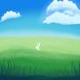 bunny in the grass lmao get off my grass yu bich