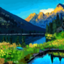 Lake by the mountains by AnnasArt