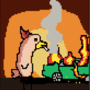 This is a picture of my profile picture, it is a chicken with a flaming car next to it by doublezmagnum