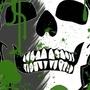green skull wall paper