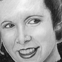 Princess Leia - Carrie Fisher Charcoal Drawing by Damrock