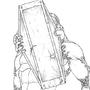 Cyborg Pyramid Head Line Art by NullBoss