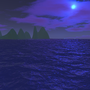 blue water, purple sky