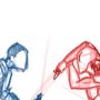 Master Matu vs. Darth Sados WIP by MasterWiggins