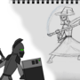 Tablet Knight VS Sketch Witch by arachnid98