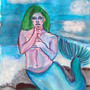 Watercolour illustration of a female mermaid by EveKing