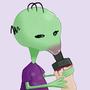 alien sucking a d