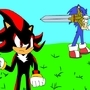 Sonic With Excalibur And Shadow With Pistol by SuperBlue4Broly