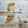 Fence and Spigot - Watercolor