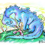 Kaya and her crazy dino by Koel-Art