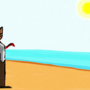 Cat At Beach PS Painting by legomaestro