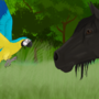 Macaw meets horse