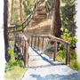 Bridge on Trail (Water Color) by kittenbombs1