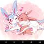 Shiny Sylveon and Eevee by 123Difficulty