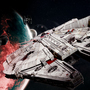 Millennium Falcon Escaping - Wallpaper