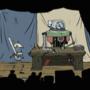 An animated merchant NPC