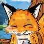 a fox drinking coffee