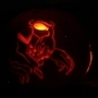 Tricky lit up pumpkin