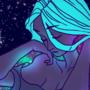 a galaxy behind her