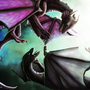 Learning to fly Dragon digital painting by RonnieTheZombie