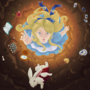 Alice Falling in the Rabbit Hole