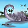 Bathing Brontosaurus