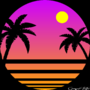 80s retrowave sunset