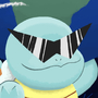 A smug Squirtle holding the earth with his left hand (paw?), all while wearing sunglasses in space