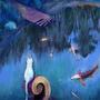 2018 03 24 White cat and koi fish Painting