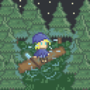 Ice-Mage in a pine forest