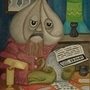 Mr. Garlic doing his taxes by jim-ether