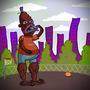 Black Guy eats Purple Guy