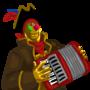 [loud and bad accordion playing]