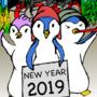 Penguin Waka happy new year and christmas