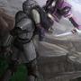 Zev vs Zelotian Soldier by Artist-Lost