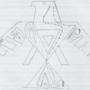 Ojibwe Woodland Thunder Bird X-Ray Drawing