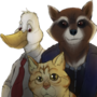 A DUCK, A RACCOON AND....A CAT???