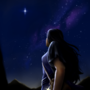 A lone girl looking at an isolated star