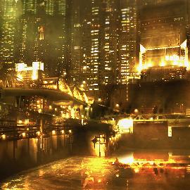 Yellow harbor scene