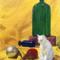 Still Life - Cat, Bottles, Pear and Ball