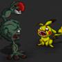 Zombie Pikachu v.s Geodude by Masebreaker