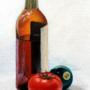Still Life - Liquor, Pool Ball and Tomato